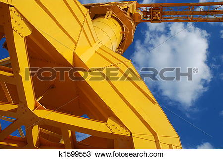 Stock Photo of old yellow crane of Nantes k1599553.