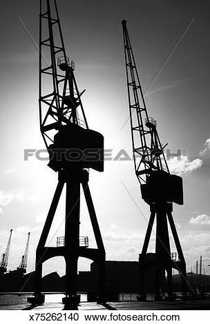 Stock Photography of Old cranes in London's Docklands x75262140.