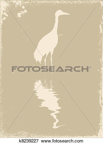 Clip Art of crane silhouette on old paper, vector illustration.