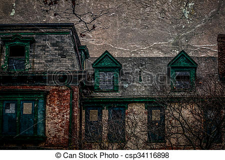 Stock Illustration of Old House in Decay.