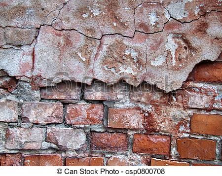 Pictures of Red crumbling wall decay.