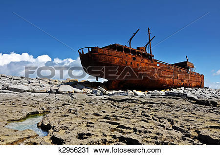Stock Photography of decay rusty old ship of the west coast.