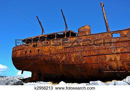 Stock Photo of decay rusty old ship of the west coast ireland,aran.