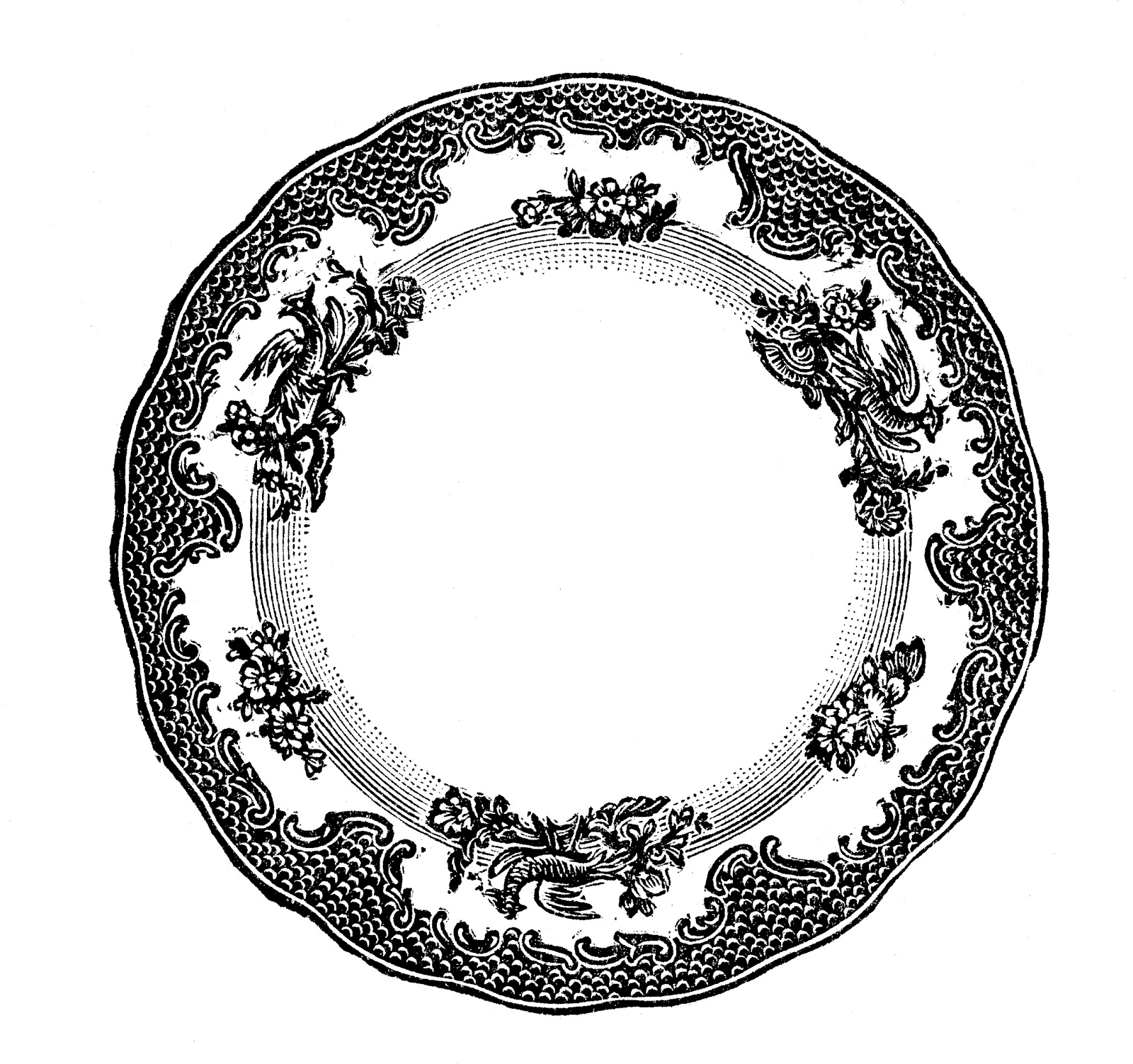 Free vintage clip art images: Vintage plates and dishes clipart.