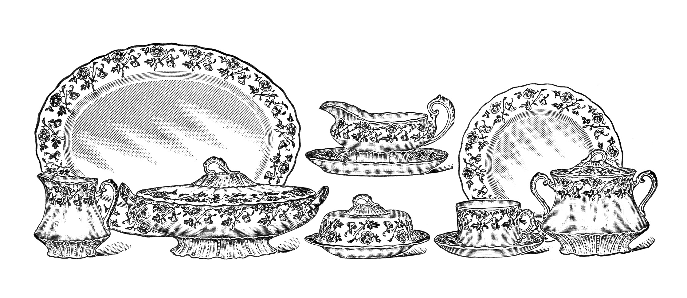 Clip Art Black And White Dishes Clipart.