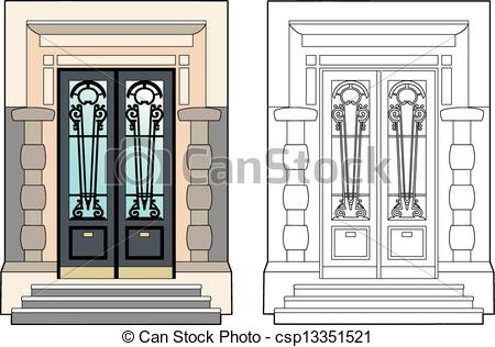 Vector Illustration of Door of the mansion.