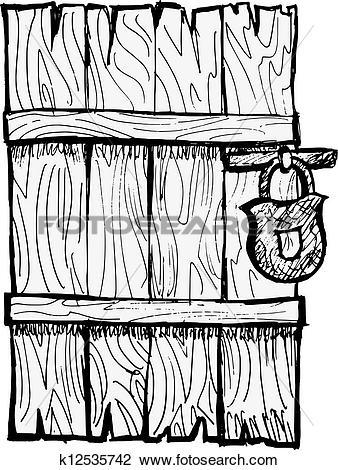 Clipart of Old wooden door k12535742.