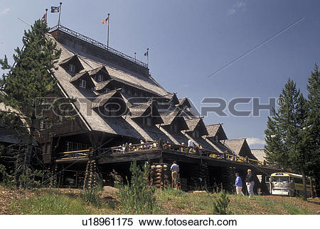 Stock Image of lodge, Old Faithful Inn, Yellowstone National Park.