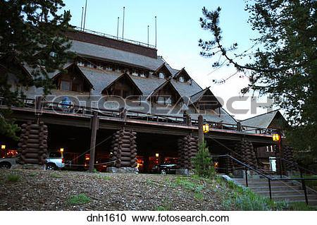 Stock Photography of Old Faithful Inn, Yellowstone National Park.