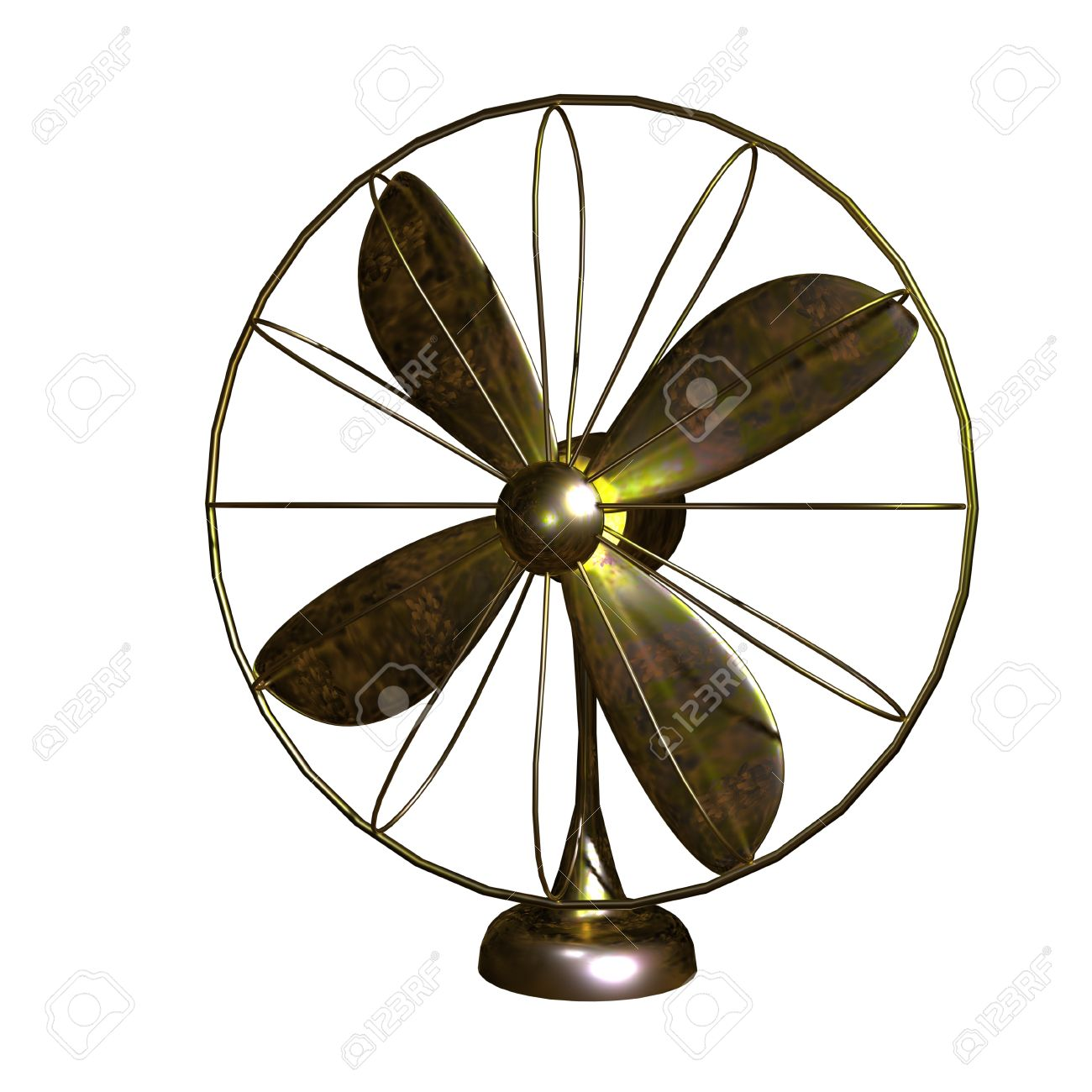 Old Fan Made By Copper For Adv Or Others Purpose Use Stock Photo.
