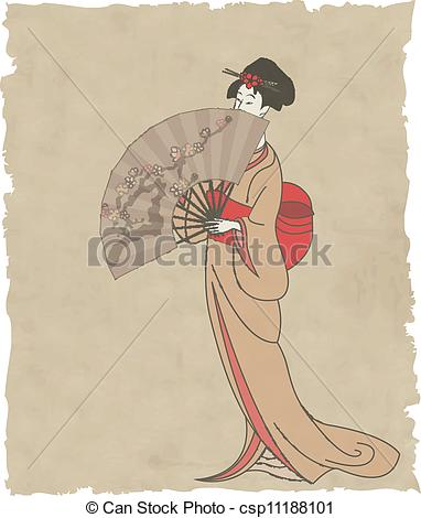Vector Clipart of Japanese girl with a fan on old paper.
