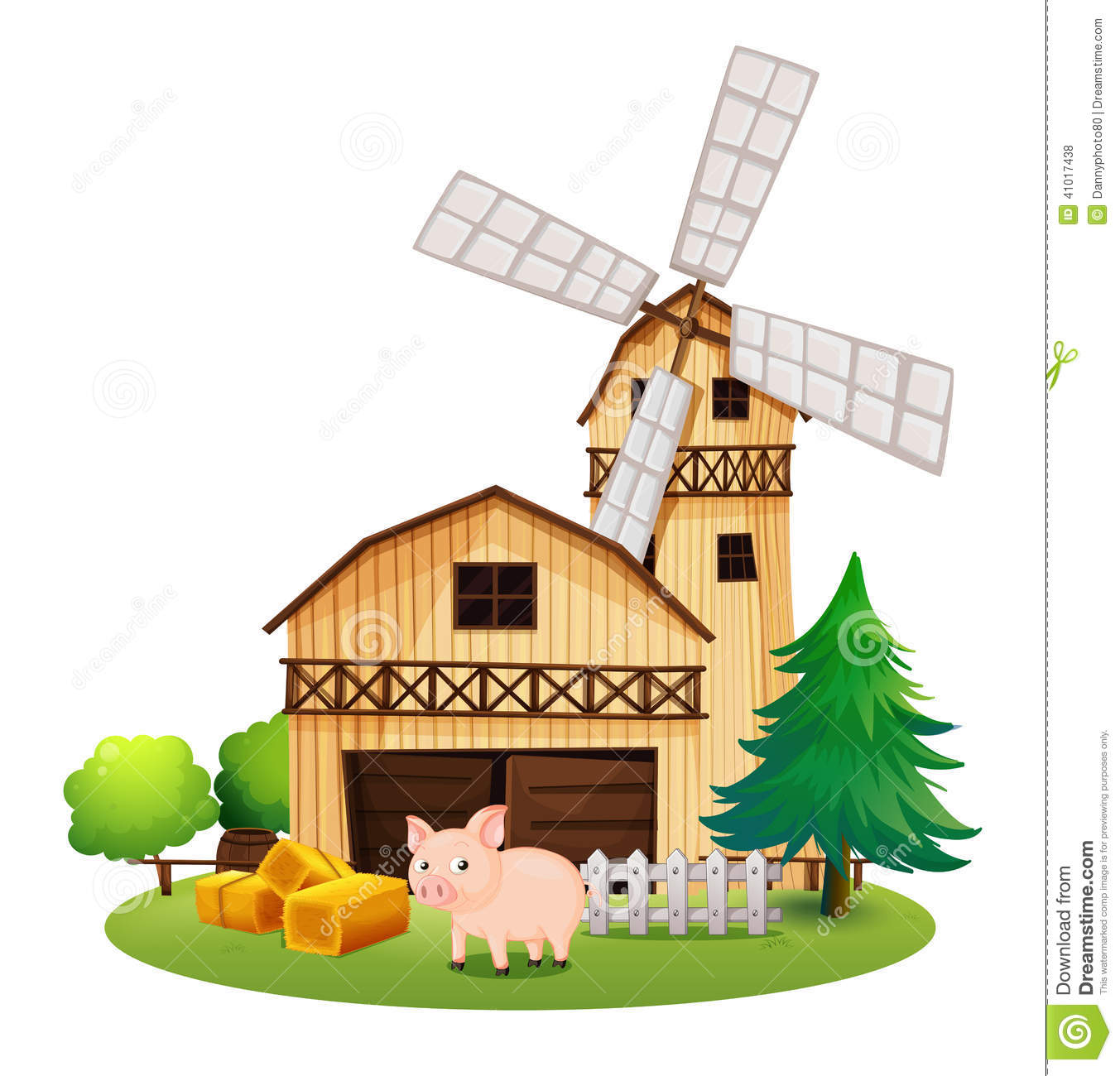 A Pig In Front Of The Farmhouse With A Windmill Stock Vector.