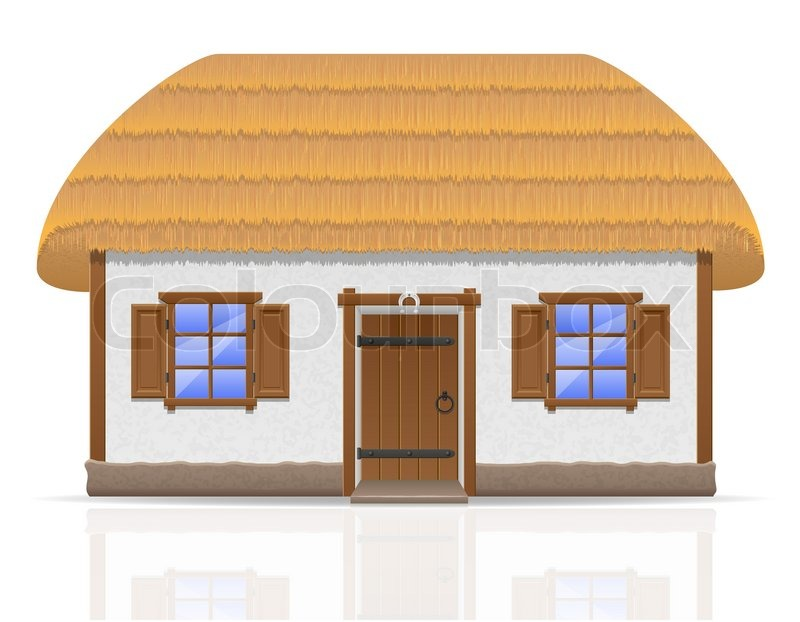 Ancient farmhouse with a thatched roof vector illustration.