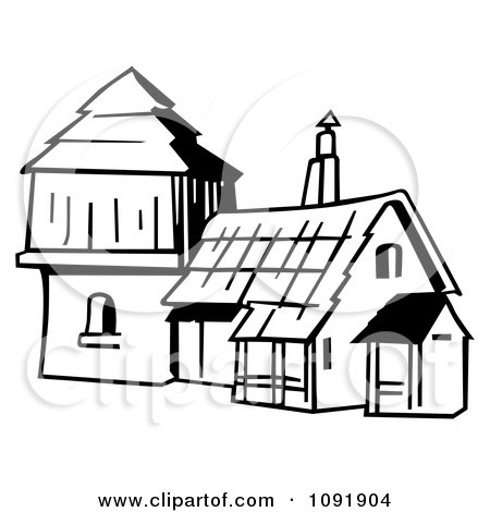 Clipart Outline Of An Old Fashioned House.