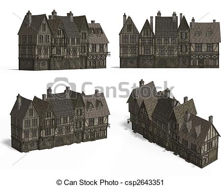 Clipart of Row of Medieval Houses.