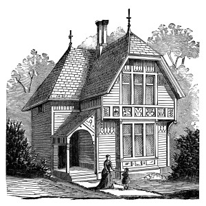 antique house illustration, black and white clipart, Victorian.