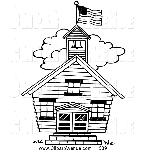 Avenue Clipart of a Old Fashioned One Room School House by.