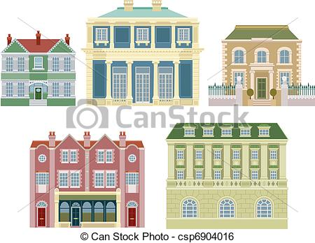 Clip Art Vector of Luxury old fashioned houses buildings.