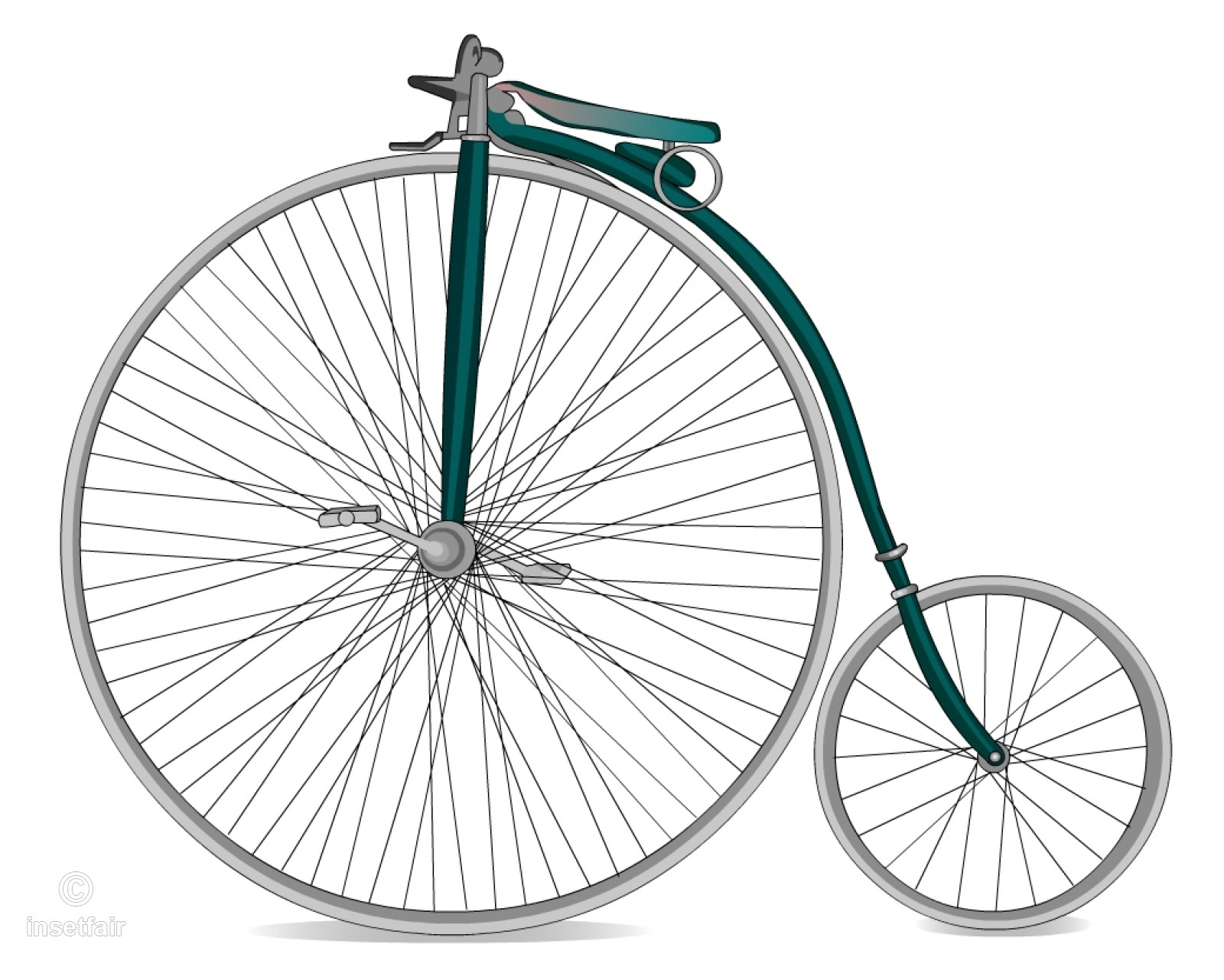 Retro old fashioned ancient bicycle free png clipart.