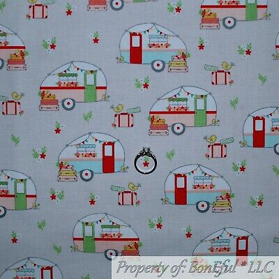 BonEful FABRIC FQ Cotton Quilt Gray White Pink Old Fashioned Camper RV  Antique S.