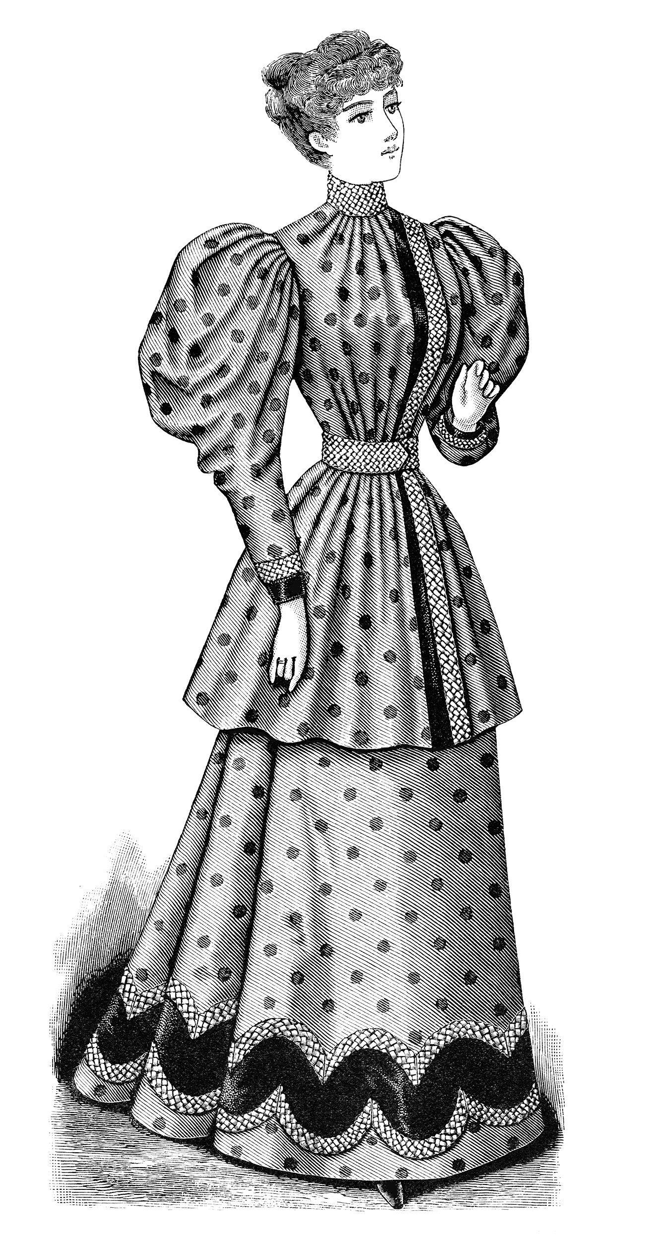Clip Art Old Fashioned Polka Dot Dress Illustration Black.