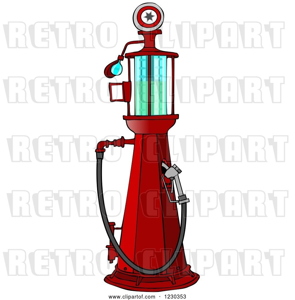 Clip Art of Retro Cartoon Red Old Fashioned Gas Pump by.