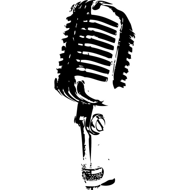 Retro Microphone Image Free Vector.