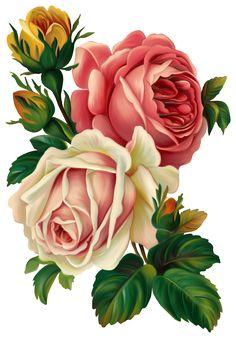 vintage rose clip art, vintage rose decoupage.
