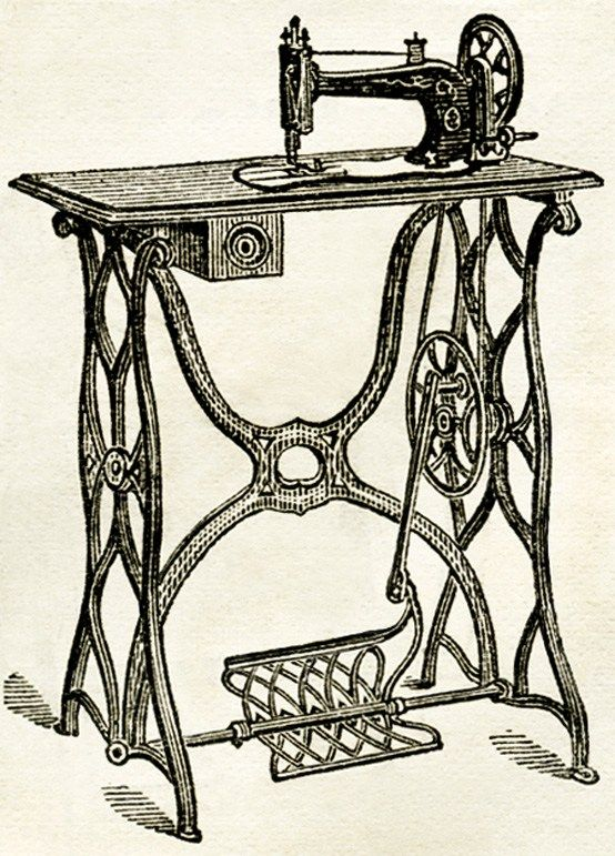 old fashioned sewing machine, free printable, vintage sewing.