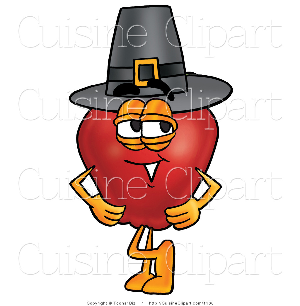 Cuisine Clipart of an Old Fashioned Red Apple Character.