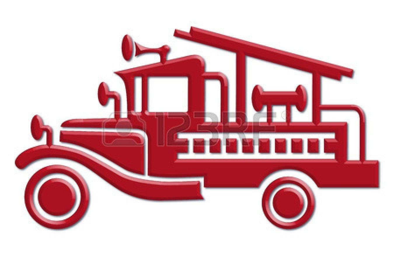 Vintage Fire Truck Clipart.