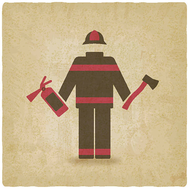 Background Of The Old Firefighter Clip Art, Vector Images.
