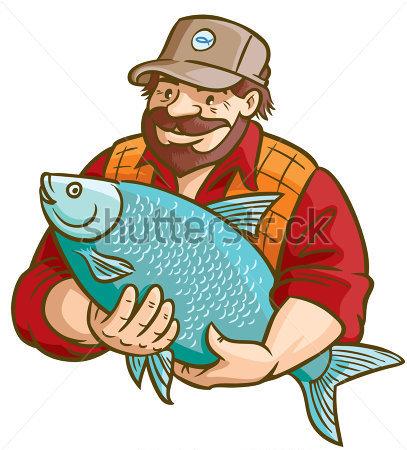 Fisherman Holding Fish Clipart.