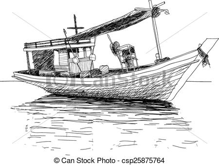 Vector Clipart of Old ship in the sea.