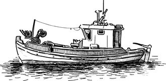 Old Fishing Boat Stock Illustrations.