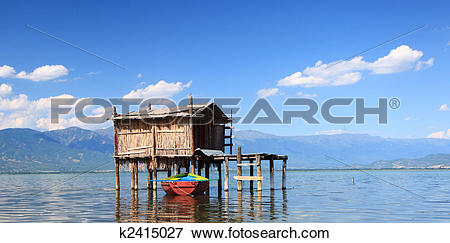 Picture of Old fishing hut in Dojran Lake k2415027.