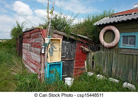 Stock Photography of Rustic wooden old fishing shed.