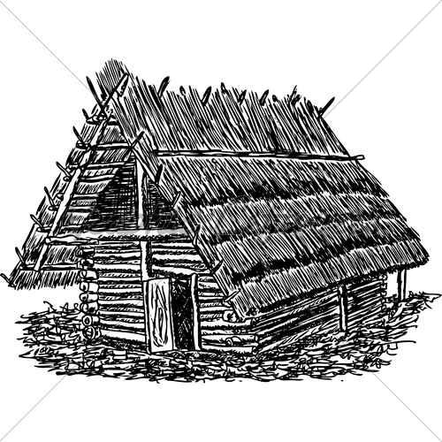 Nipa Hut Black And White Clipart.