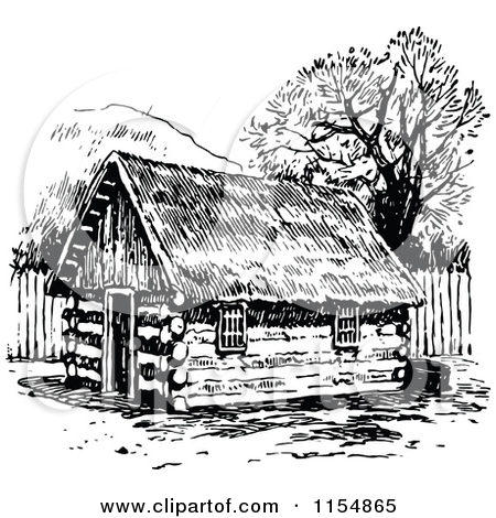 Clipart of a Retro Vintage Black and White Log Cabin.