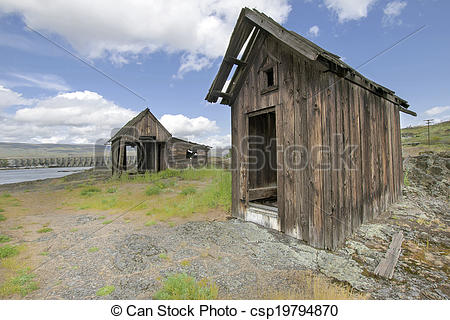 Picture of Old Abandoned Native American Fishing Shacks Along.