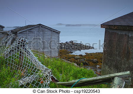 Stock Photo of Old rustic huts.