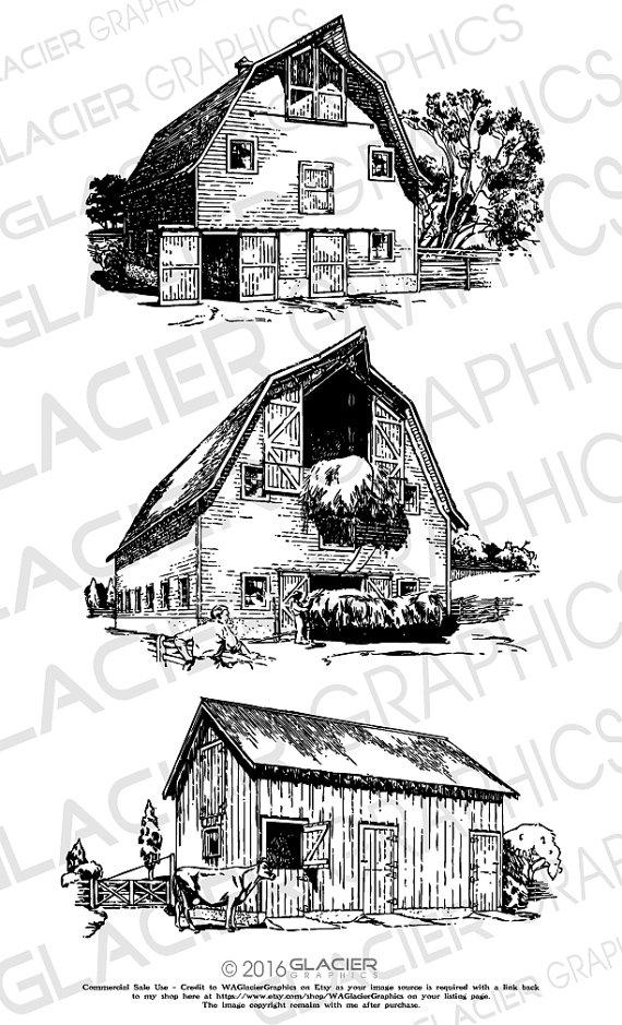 Vintage Fishing, Canoe, Fishing Pole Illustrations Clipart Digital.