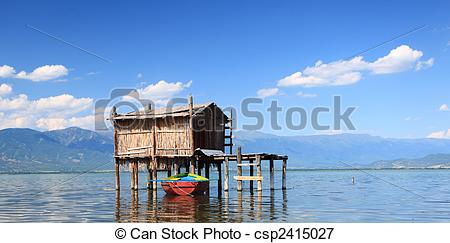 Picture of Old fishing hut in Dojran Lake csp2415027.
