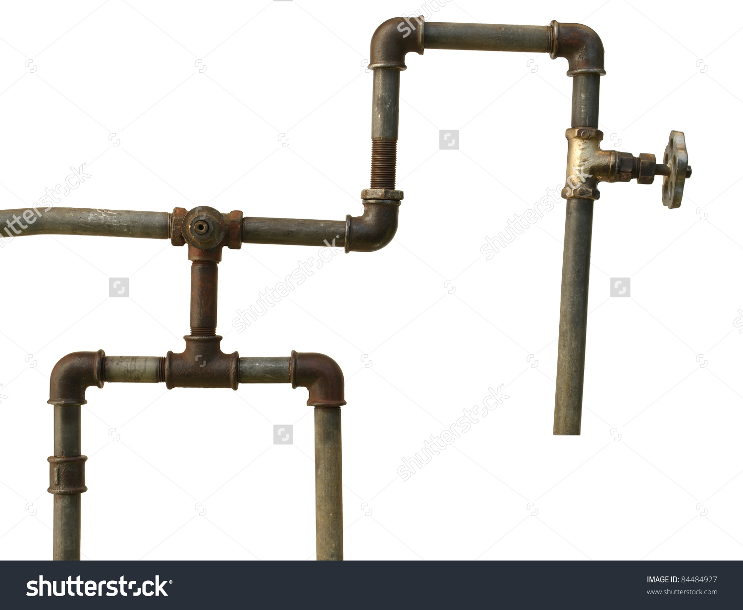 Fragment Old Water Conduit Consisting Pipes Stock Photo 84484927.