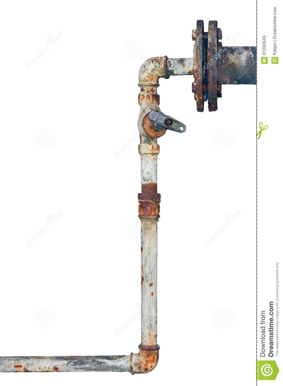 Old Rusty Pipes, Aged Weathered Isolated Grunge Iron Vertical.