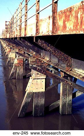 Stock Image of Metal Fittings on Old Wooden Railway Bridge env.