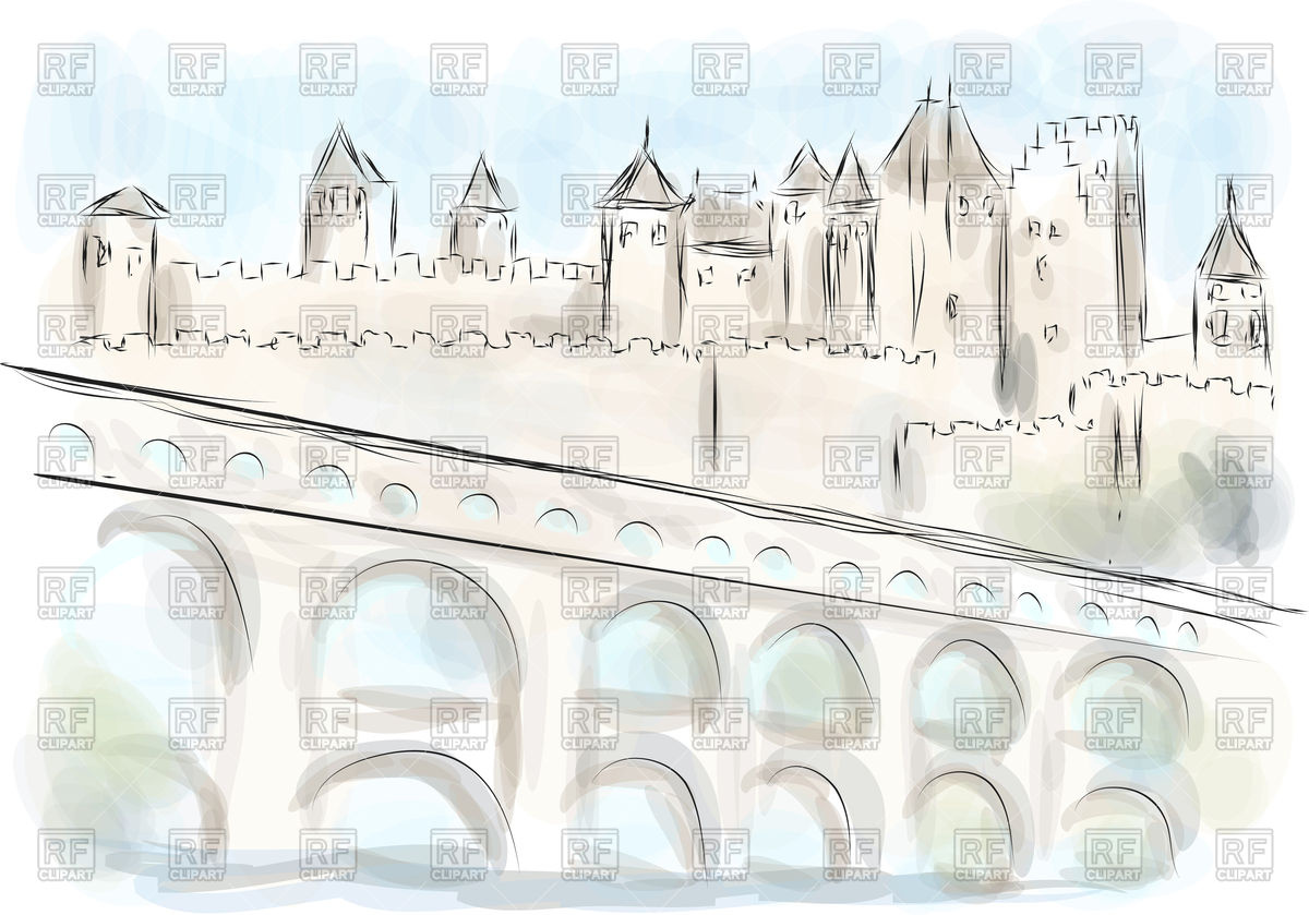 Sketch of Languedoc, old fort with bridge Vector Image #130063.