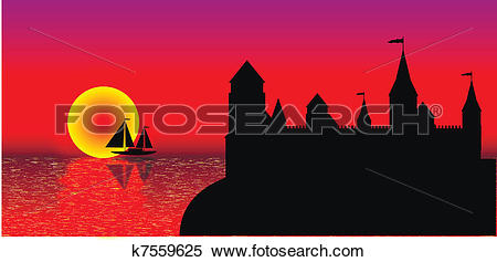 Clipart of View of the old fort on the beach at sunset k7559625.