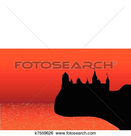 Clip Art of View of the old fort on the beach after sunset.