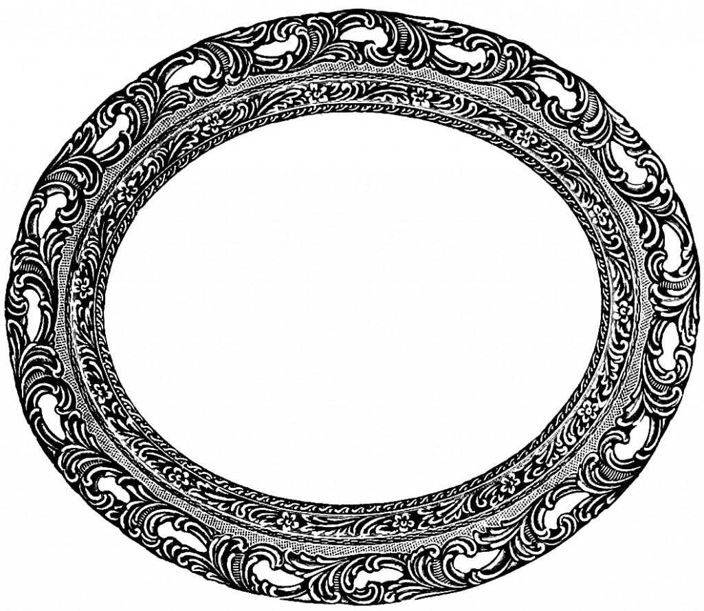 Vintage Oval Frame Clip Art Image.